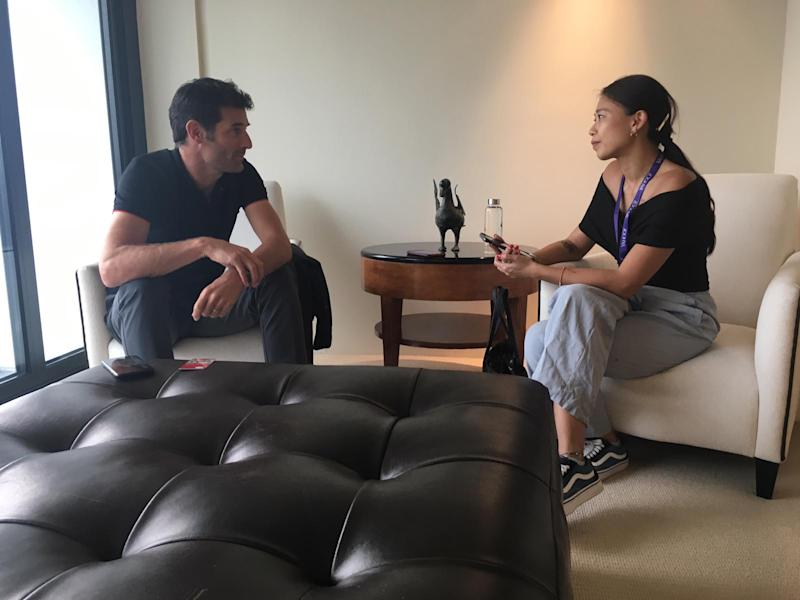 The writer with racing driver Mark Webber. (PHOTO: Yahoo Lifestyle Singapore)