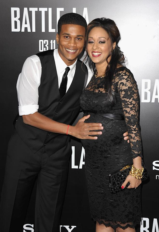 """Cory Hardict and <a href=""""http://movies.yahoo.com/movie/contributor/1800421202"""">Tia Mowry</a> at the Los Angeles premiere of <a href=""""http://movies.yahoo.com/movie/1810119633/info"""">Battle: Los Angeles</a> on March 8, 2011."""