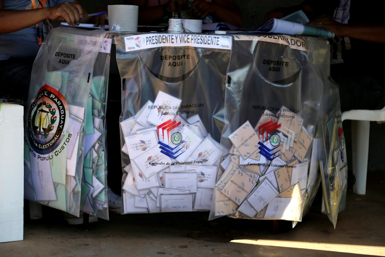 Ballots are seen in a voting station during Paraguay's national elections in the outskirts of Asuncion, Paraguay April 22, 2018. REUTERS/Jorge Adorno