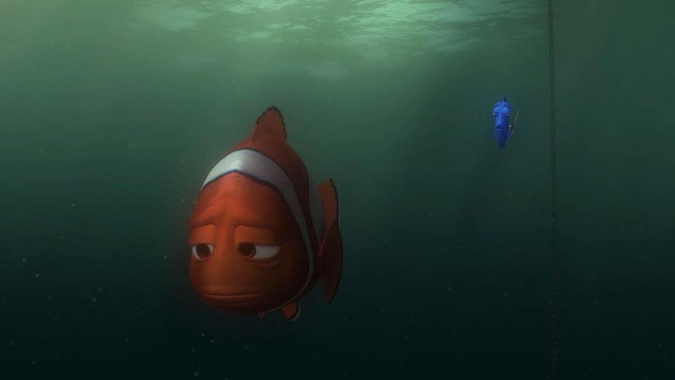 Marlin gives up hope in this moving scene from <i>Finding Nemo</i> (Disney)