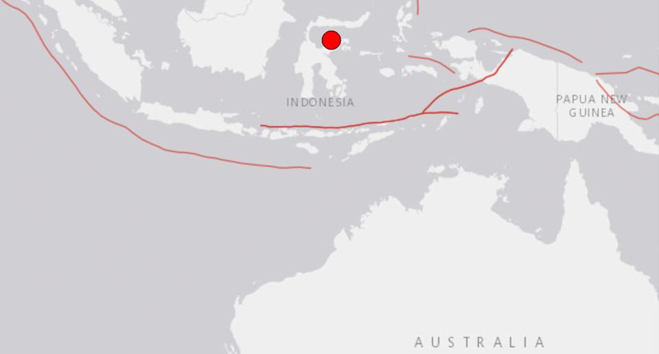 A world map shows an earthquake striking off Indonesia.