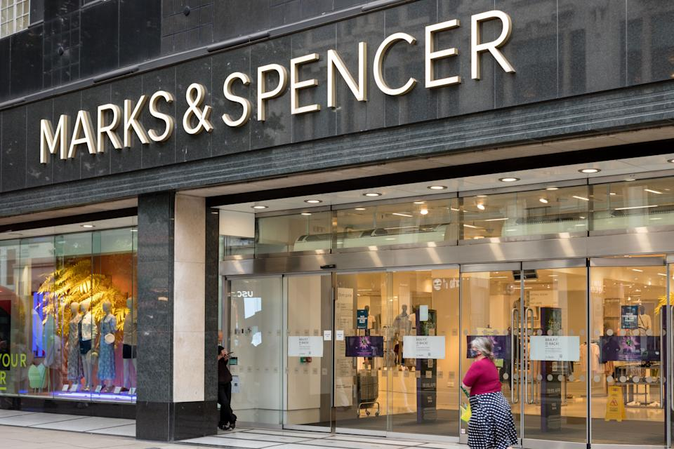 LONDON, UNITED KINGDOM - 2021/06/22: Marks & Spencer logo is seen at one of their stores on Oxford Street in London. (Photo by Belinda Jiao/SOPA Images/LightRocket via Getty Images)
