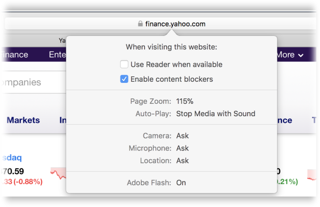 In Safari, you can establish all of these settings on a per-Website basis. It's pretty awesome.