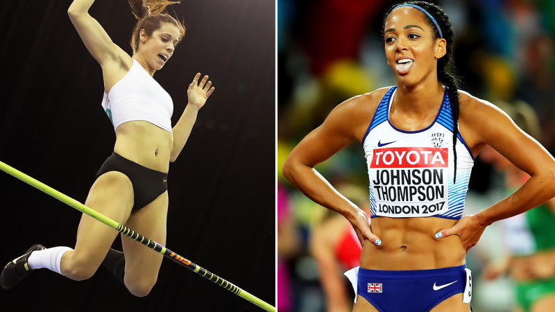 Katerina Stefanidi and Katarina Johnson-Thompson, pictured here competing for their countries.
