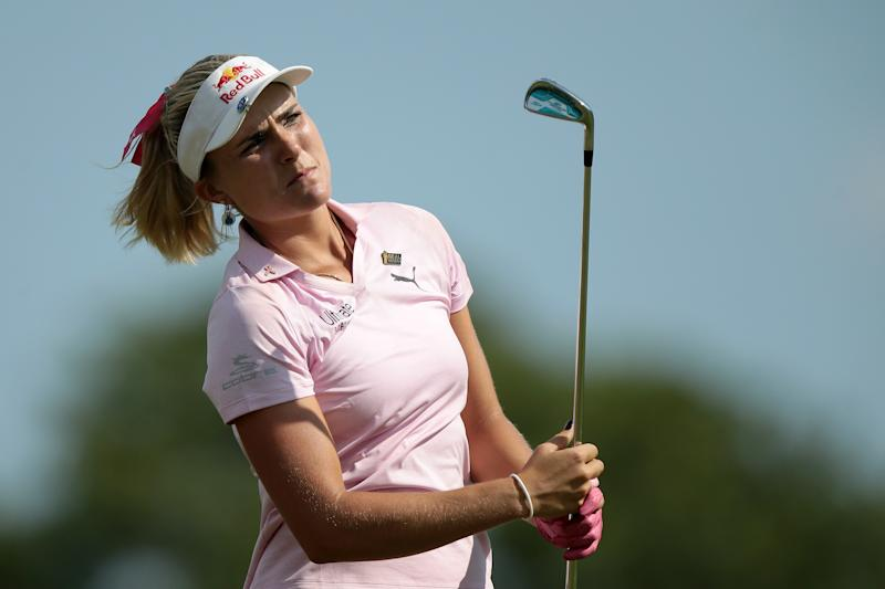 Lexi Thompson watches her fairway shot on the 18th hole during the third round of the Marathon LPGA Classic presented by Dana golf tournament at Highland Meadows Golf Club in Sylvania, Ohio USA, on Saturday, July 13, 2019. (Photo by Jorge Lemus/NurPhoto via Getty Images)