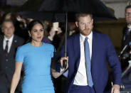 FILE - In this March 5, 2020, file photo, Britain's Prince Harry and Meghan, Duchess of Sussex, arrive at the annual Endeavour Fund Awards in London. In an interview with Oprah Winfrey, Prince Harry says the process of separating from royal life has been very difficult for him and his wife, Meghan. The interview special is scheduled to air March 7, 2021, on CBS and the following day in Britain. (AP Photo/Kirsty Wigglesworth, File)