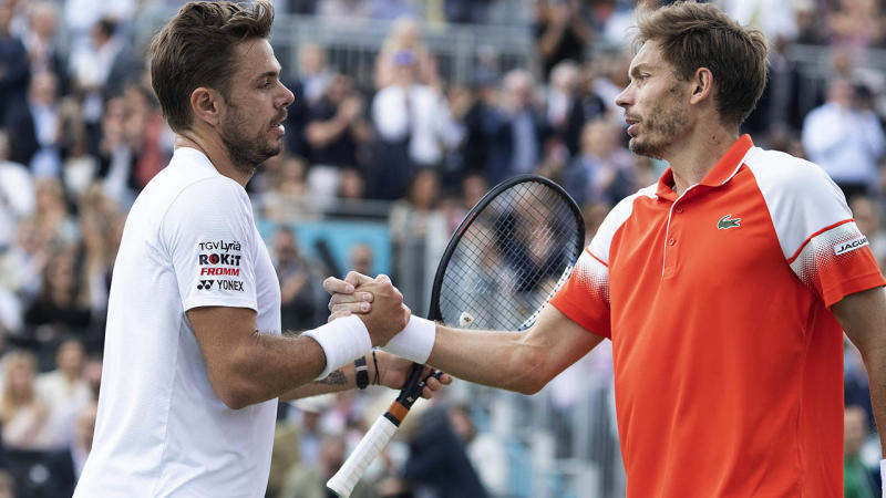 Nicolas Mahut beat Stan Wawrinka. (Photo by Shaun Brooks/Action Plus via Getty Images)