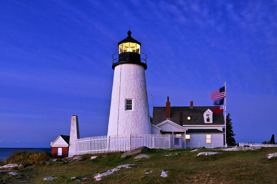 """<p>Located at the entrance to the Muscongus and Johns Bays, the stunning <a href=""""https://visitmaine.com/organization/pemaquid-point-lighthouse/?uid=vtmA4A53E72AF048924C"""" rel=""""nofollow noopener"""" target=""""_blank"""" data-ylk=""""slk:Pemaquid Point Lighthouse"""" class=""""link rapid-noclick-resp"""">Pemaquid Point Lighthouse</a> is going on 200 years old. (President John Quincy Adams commissioned the structure in 1827.) If you were ever a state quarter collector, you might also recognize this landmark from Maine's 25-cent piece.</p>"""
