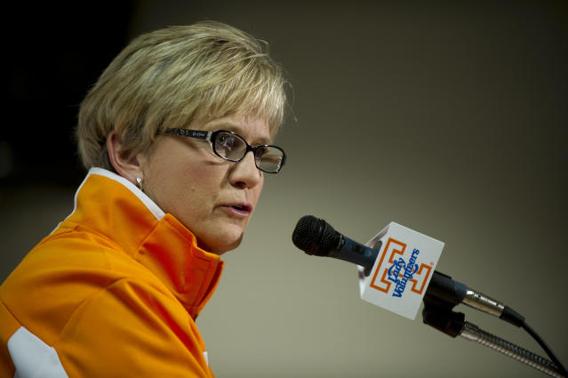 Tennessee coach Holly Warlick talks about the upcoming season during NCAA college basketball media day Wednesday, Oct. 30, 2013, in Knoxville, Tenn. (AP Photo/The Knoxville News Sentinel, Saul Young)