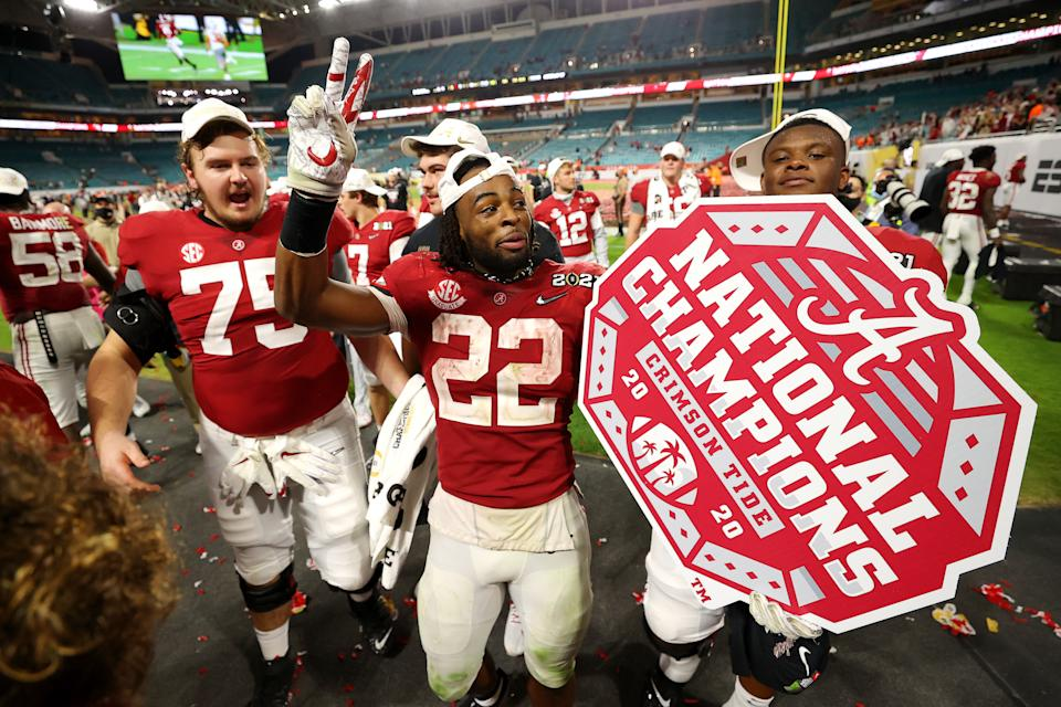 Alabama's Najee Harris celebrates after the College Football Playoff national championship game on Jan. 11. (Kevin C. Cox/Getty Images)