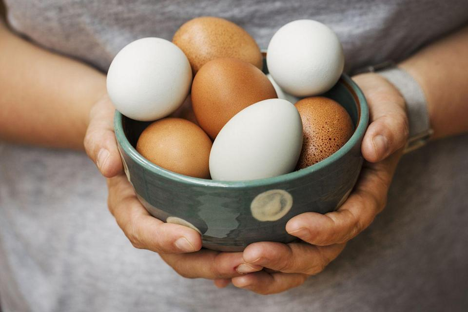 """<p><a href=""""https://www.prevention.com/food-nutrition/healthy-eating/a20508054/are-eggs-healthy/"""" rel=""""nofollow noopener"""" target=""""_blank"""" data-ylk=""""slk:Eggs are healthy"""" class=""""link rapid-noclick-resp"""">Eggs are healthy</a>, despite the warnings you used to hear about them being high in dietary cholesterol. Eggs are good for your eyes, brain, and waistline, and since they're packed with protein, they'll keep you full between meals. </p>"""