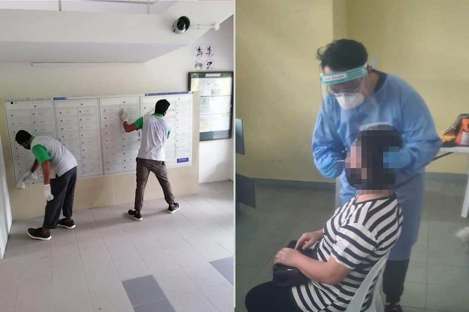 Left: Cleaning and disinfection works being conducted at Block 559 Pasir Ris Street 51 and its surrounding HDB blocks. Right: A resident undergoing a swab test at a Regional Screening Centre. (PHOTOS: Desmond Tan / Facebook)