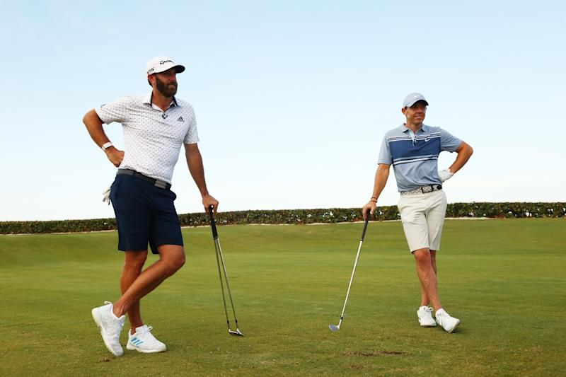 Dustin Johnson and Rory McIlroy were both mic'd up during TaylorMade Driving Relief back in May. (Photo by Mike Ehrmann/Getty Images)