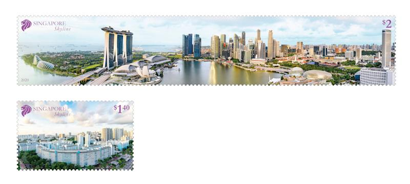 The two-stamp set issued by SingPost, featuring the longest singles stamp in Singapore history. (PHOTO: SingPost)