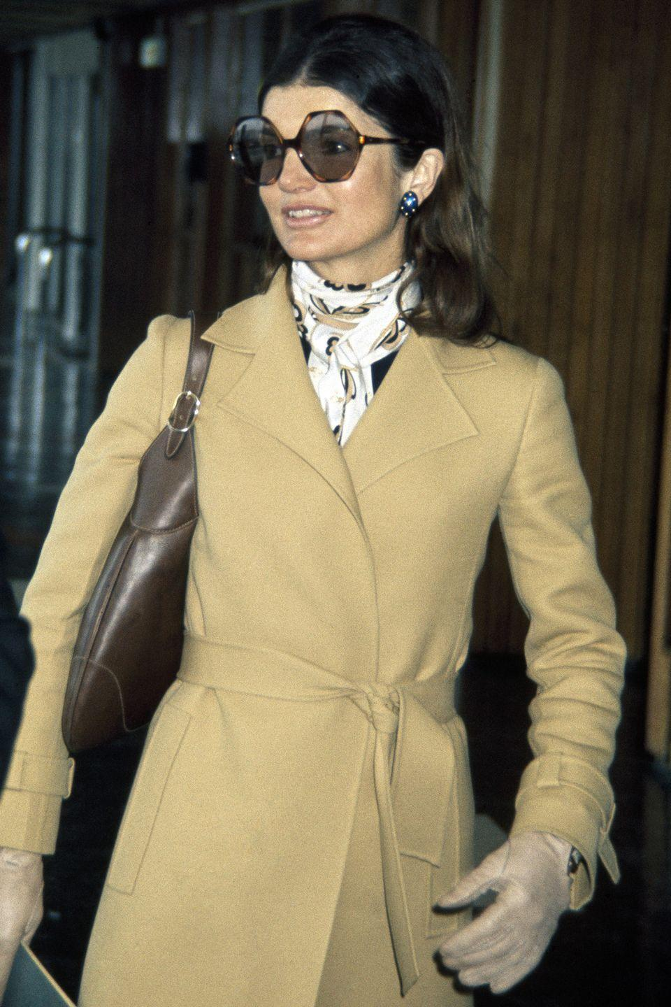 <p>Taking the '70s by storm, Jackie O was frequently seen wearing oversized sunglasses that were the perfect touch to her sleek style. </p>