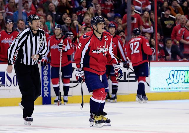 WASHINGTON, DC - MARCH 29: Alex Ovechkin #8 of the Washington Capitals skates to the penalty box after being called for charging during the third period against the Boston Bruins at Verizon Center on March 29, 2014 in Washington, DC. (Photo by Rob Carr/Getty Images)