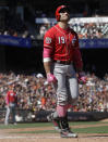 Cincinnati Reds' Joey Votto reacts after striking out against the San Francisco Giants during the ninth inning of a baseball game in San Francisco, Sunday, May 12, 2019. (AP Photo/Jeff Chiu)