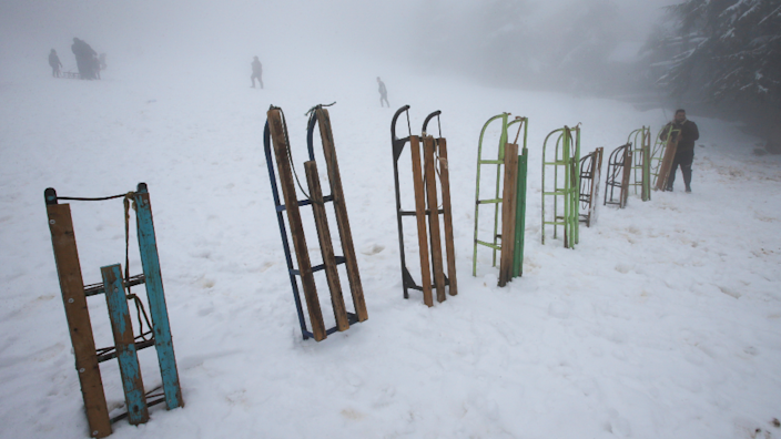Snow sledges lined up upstanding in the snow in the Chrea mountains in Blida, Algeria - Monday 22 March 2021