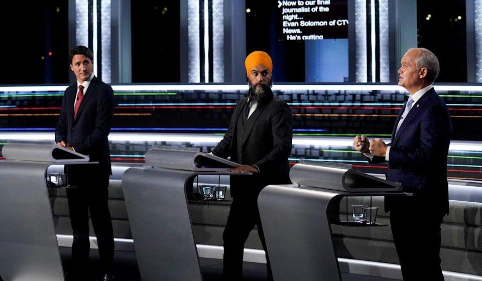 From left, Liberal leader Justin Trudeau, New Democratic Party leader Jagmeet Singh and Conservative leader Erin O'Toole take part in an election debate in Gatineau, Quebec, on Thursday. Photo: Reuters