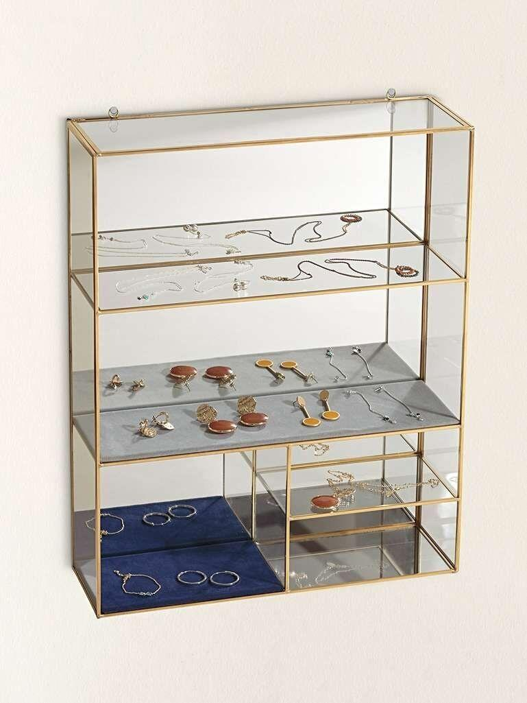 Oliver Bonas Gold & Glass Blue Velvet Hanging Jewellery Shelf Extra Large (Photo: HuffPost UK)