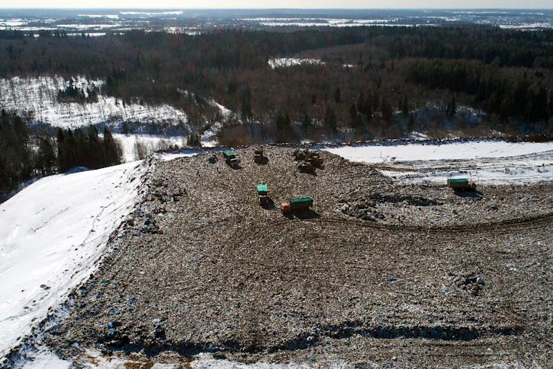 An aerial view shows the Yadrovo landfill near the town of Volokolamsk, where doctors have treated dozens of children complaining of dizziness and nausea because of noxious fumes coming from a local dump, authorities said