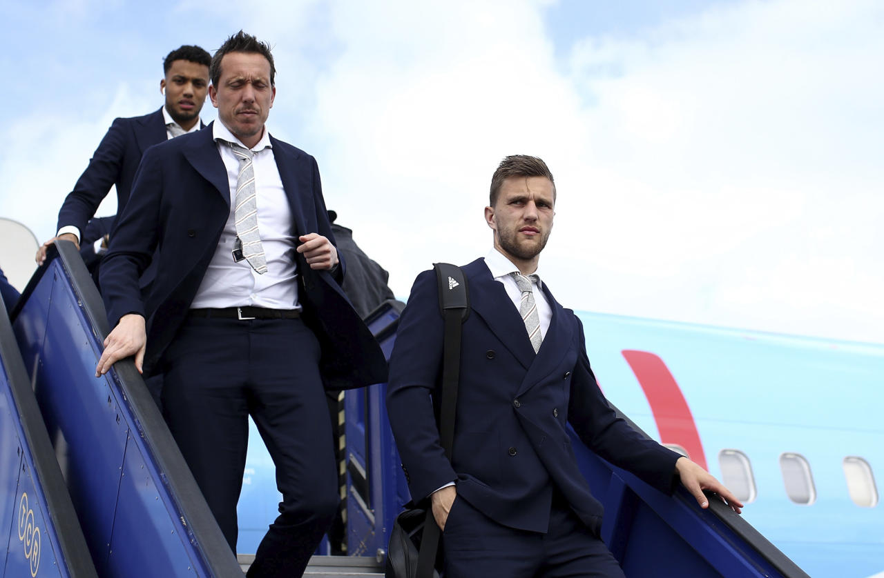 Football Soccer - Ajax Amsterdam arrive in Stockholm - Stockholm Arlanda Airport, Stockholm, Sweden - 23/5/17 Ajax's Joel Veltman arrives with team mates ahead of the Europa League Final  Reuters / Pool Pic / UEFA Livepic NO ARCHIVE, EDITORIAL USE ONLY
