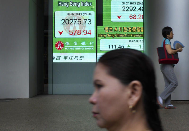 People walk past an electronic board showing the Hong Kong share index outside a local bank in Hong Kong Monday, July 8, 2013. Concern over China's slowdown weighed on Asian stock markets Monday after the head of the International Monetary Fund warned of a loss of momentum in emerging economies. Asia's losses came despite strong U.S. job numbers that sparked a Wall Street rally on Friday. Hong Kong's Hang Seng dropped 1.9 percent to 20,463.80 at the midday close. (AP Photo/Vincent Yu)