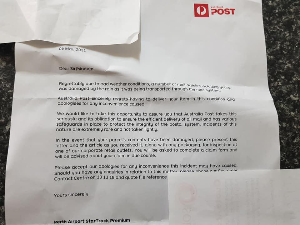 A letter from Australia Post to a customer informing her why her package was damaged.