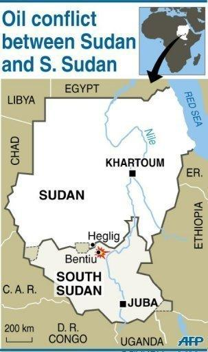 """Map of Sudan and South Sudan locating Heglig and Bentiu. Khartoum's warplanes bombed border regions, leading South Sudan's leader on Tuesday to accuse Sudan of declaring war, as the United States condemned the """"provocative"""" strikes"""
