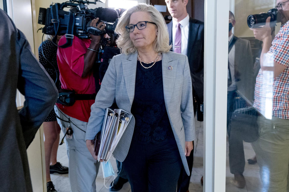 Rep. Liz Cheney, R-Wyo., leaves a meeting of the select committee on the Jan. 6 attack as they prepare to hold their first hearing Tuesday, on Capitol Hill, in Washington, Monday, July 26, 2021. The panel will investigate what went wrong around the Capitol when hundreds of supporters of Donald Trump broke into the building and rioters brutally beat police, hunted for lawmakers and interrupted the congressional certification of Democrat Joe Biden's election victory over Trump. (AP Photo/Andrew Harnik)