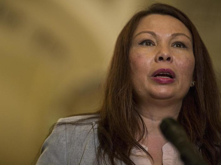 Senator Tammy Duckworth speaks during a weekly news conference on Capitol Hill: (Getty Images)