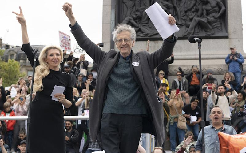 Piers Corbyn speaking at the Unity for Freedom rally over the weekend - Getty