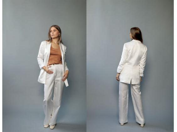 This tailored suit will make a modern, contemporary bride (Lora Gene)
