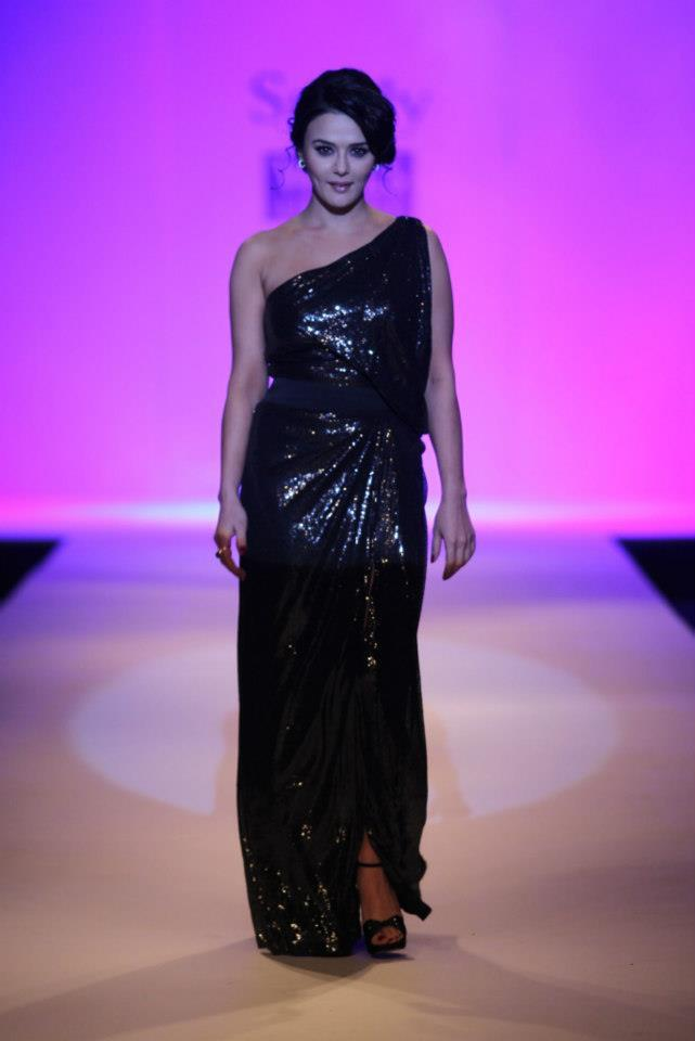 Bold and beautiful Preity Zinta showstopped for designer Surily Goel.