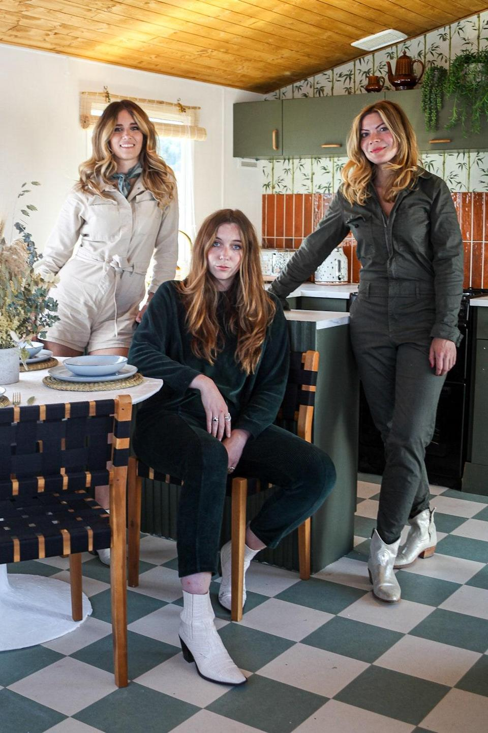 """""""We're three friends who really believed in each other's talents,"""" says Anna (right), looking back on the renovation. """"I don't have a design background, while the others do. I was so chuffed they let me have such a say in it."""" Whinnie is pictured on the left and Emma in the center."""