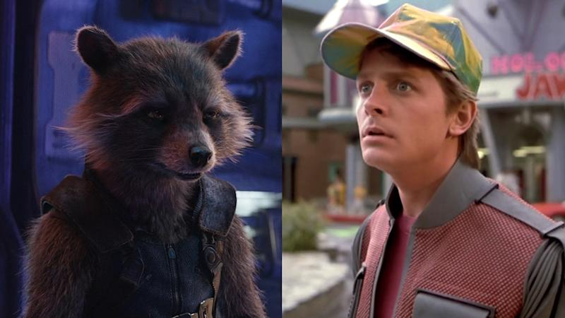 Rocket Raccoon in 'Avengers: Endgame' and Michael J. Fox in 'Back to the Future 2'. (Credit: Disney/Universal)