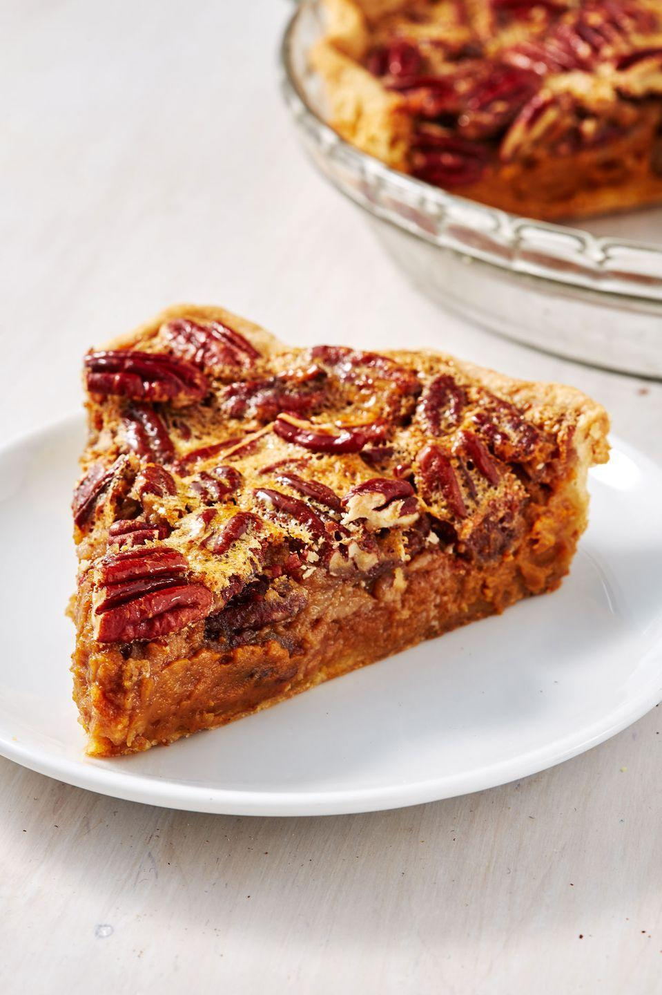 """<p>Why choose one pie when you can make this? </p><p>Get the recipe from <a href=""""http://www.delish.com/holiday-recipes/thanksgiving/a28649822/pumpkin-pecan-pie-recipe/"""" rel=""""nofollow noopener"""" target=""""_blank"""" data-ylk=""""slk:Delish"""" class=""""link rapid-noclick-resp"""">Delish</a>.</p>"""