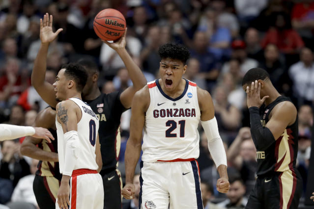 <p>Gonzaga forward Rui Hachimura celebrates after scoring against Florida State during the first half an NCAA men's college basketball tournament West Region semifinal Thursday, March 28, 2019, in Anaheim, Calif. (AP Photo/Marcio Jose Sanchez) </p>