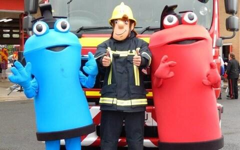 Lincolnshire County Council showing their three mascots, Freddy (left) Fireman Sam (centre), and Filbert (right) - Credit: PA