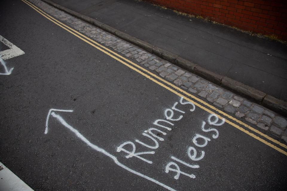 A specially marked out 'runner lane' on Avon Crescent in Bristol (Picture: SWNS)