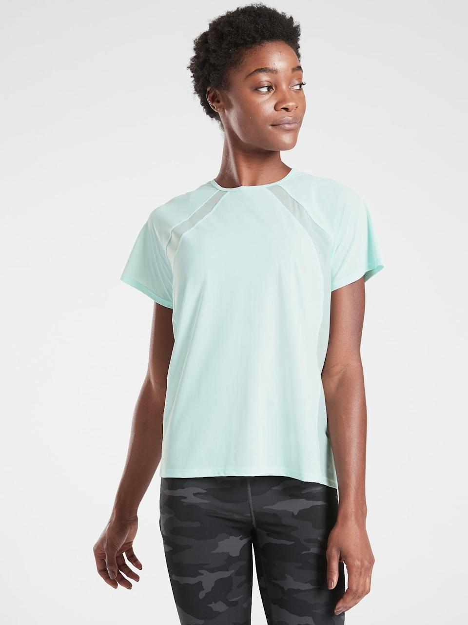 <p>There are six on-sale colors of this <span>Athleta Ultimate Hybrid Tee</span> ($24-$52, originally $69), each perfect for all your high-sweat moves and grooves. </p>