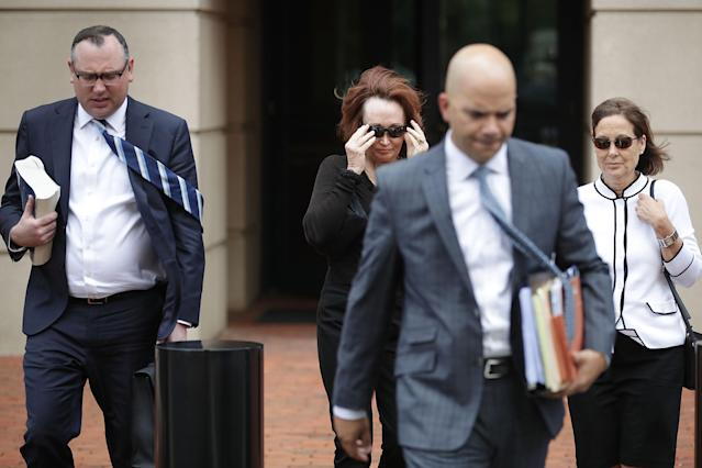 <p>Kathleen Manafort (2nd L), wife of former Trump campaign chairman Paul Manafort, and lawyer Brian Ketcham (L) leave the Albert V. Bryan United States Courthouse at the end of the second day of Manafort's trial Aug. 1, 2018 in Alexandria, Va. (Photo: Chip Somodevilla/Getty Images) </p>