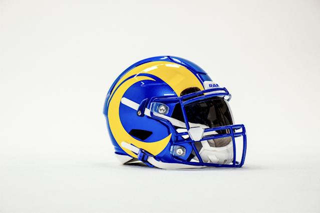 "Shown is the Rams' new helmet for the 2020 season. <span class=""copyright"">(Los Angeles Rams)</span>"
