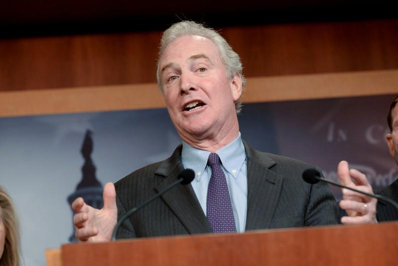 Sen. Van Hollen announces a bipartisan agreement on Turkey sanctions during a news conference in Washington