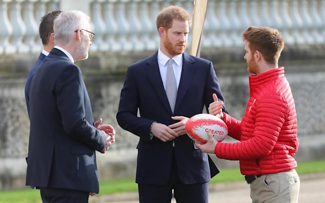 Prince Harry, Duke of Sussex, pictured at the Rugby League World Cup 2021 draws today. [Photo: Getty]