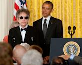 <p>Bob Dylan receives the Presidential Medal of Freedom from President Obama on May 29, 2012 in Washington, D.C.</p>