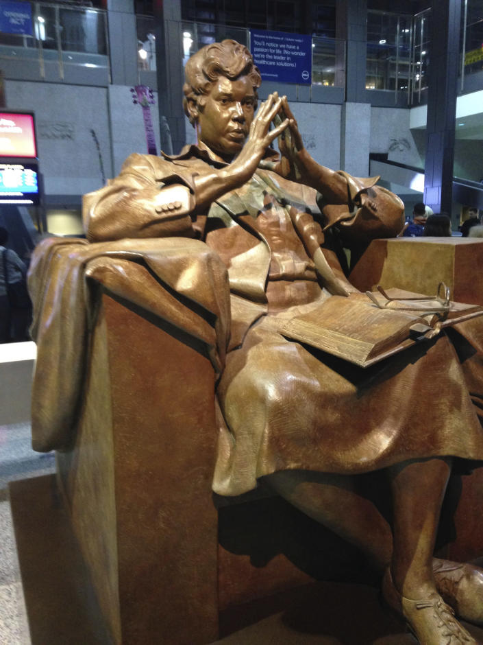 In this Nov. 18, 2015 photo, a statue of former U.S. Rep. Barbara Jordan, the first African American elected to the Texas Senate after Reconstruction and the first Southern African-American woman elected to the U.S. House of Representatives, sits at the Austin-Bergstrom International Airport in Austin, Texas. Jordan is another figure who activists say needs to be honored. (AP Photo/ Russell Contreras)