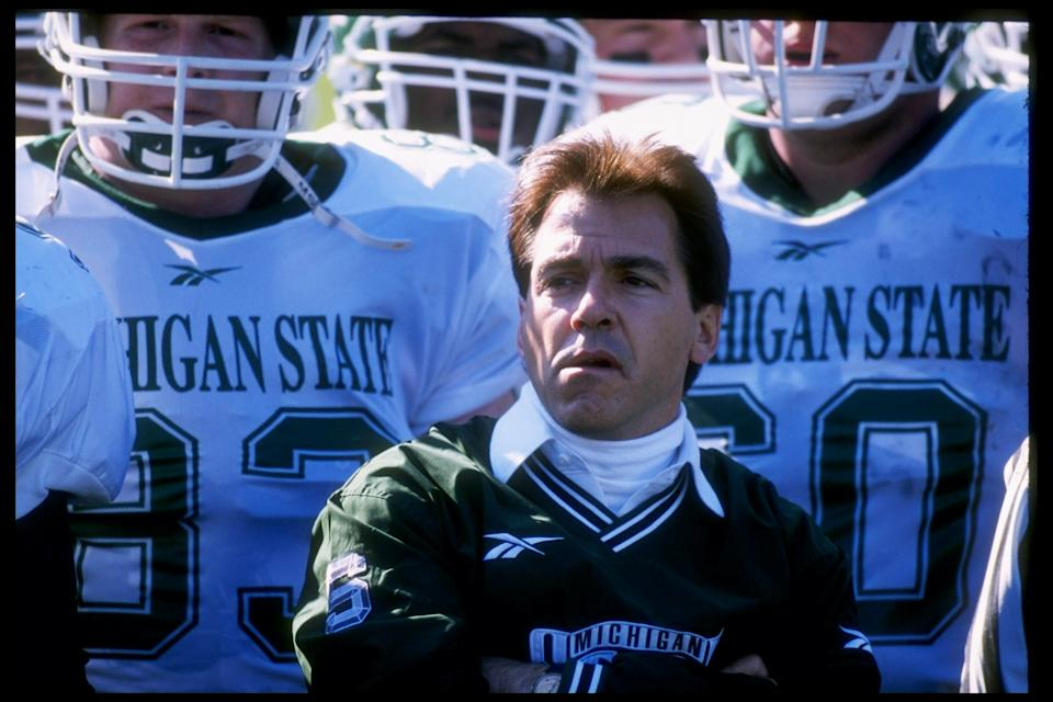 8 Nov 1997:  Head coach Nick Saban of the Michigan State Spartans looks on during a game against the Purdue Boilermakers at Ross Ade Stadium in Lafayette, Indiana.  Purdue won the game 22-21. Mandatory Credit: Jonathan Daniel  /Allsport