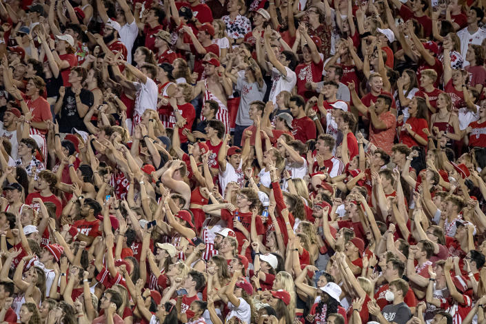 University of Wisconsin Madison students at a college football game between the Eastern Michigan Eagles and the Wisconsin Badgers on Sept. 11 at Camp Randall Stadium in Madison.