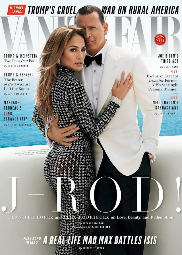 "<p>What better way to celebrate your love than a joint cover of <em>Vanity Fair</em>? The pair rehashed their love story in the magazine. They went on their first date to Hotel Bel Air, and the former Yankees star wasn't sure if the outing was romantic. ""I didn't know if it was a date,"" Rodriguez says. ""Maybe we were seeing each other at night because of her work schedule. I went in uneasy, not knowing her situation."" (Photo: Vanity Fair) </p>"